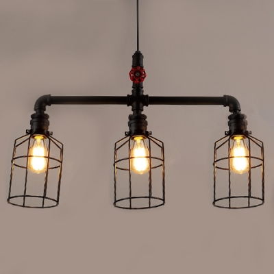 3 Light Open Cage Pipe LED Island Light in Black Finish