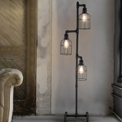 Light Floor Lamp In Weathered Iron