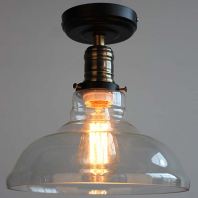 Bronze/Black 1 Light LED Semi Flush Mount in Clear Glass Shade