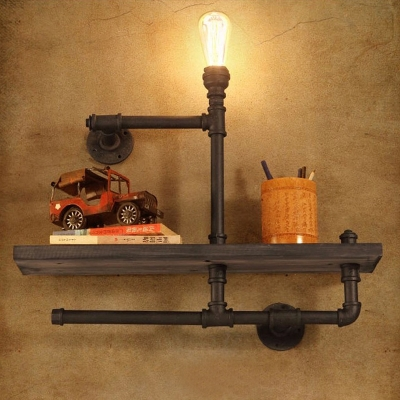 Delightful Utility Single Light Bookshelf LED Wall Lamp With Wood Accents