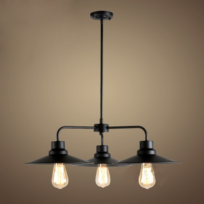 Industrial style 3 light led chandelier with metal shade aloadofball Images