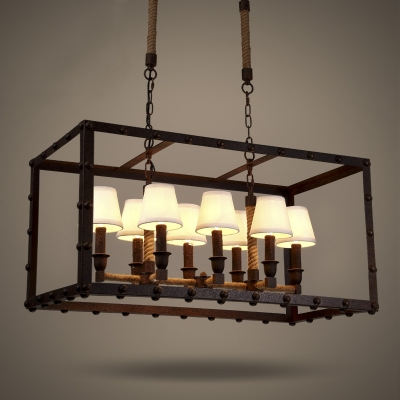 Industrial Style 8 Light Rectangle Rope Chandelier in Rust Finish 31 1/2