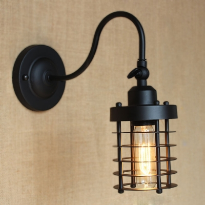 Gooseneck LED Wall Sconce in Satin Black Finish with Cylinder Cage