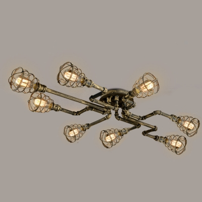 antique brass 8 light semi flush ceiling light with metal cage