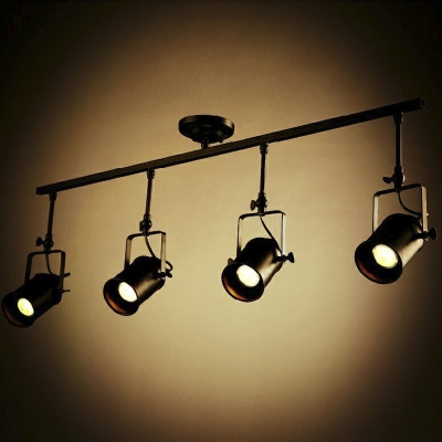 Four Lights Spotlight Led Ceiling Fixture With Cylinder Shade