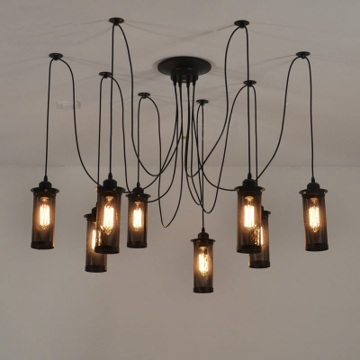 Industrial 8 Lt Swag Multi Light Pendant with Cylindrical Mesh Shade & Fashion Style Swag Industrial Lighting - Beautifulhalo.com azcodes.com