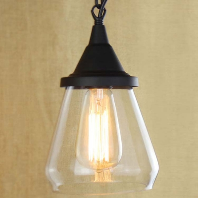 Matte black 1 light clear glass led mini pendant light aloadofball Image collections