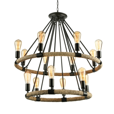 2 Tier 32-Inch Wide Industrial Style 14 Light Rope LED Chandelier