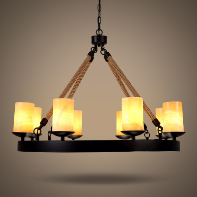 Industrial Dining Room 8 Light Large Rope LED Chandelier In Black Finish  With Cylinder Amber Frosted ...