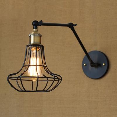 Pearl Shape Wire Guard Matte Black 1 Light Adjustable LED Wall Light