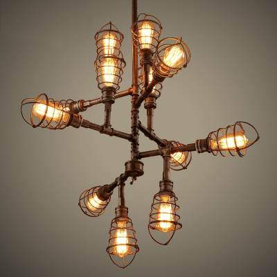 12 Light Wrought Iron Led Chandelier With Wire Cages
