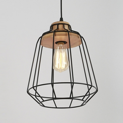 1 Light LED Pendant Light with Black Wire Frame Shade and Wood ...