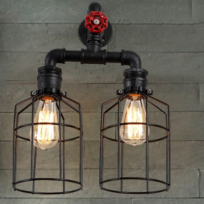 Vintage Black Iron Cage 2 Lights LED Wall Sconce with Red Valve
