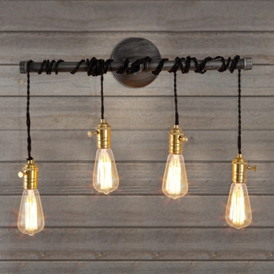 24 Inches Wide Natural Iron Four Light