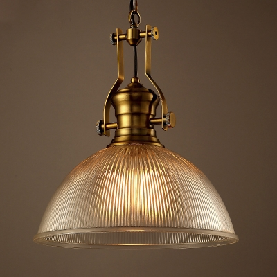 Vintage Brass 1 Light Led Pendant In Halophane Glass