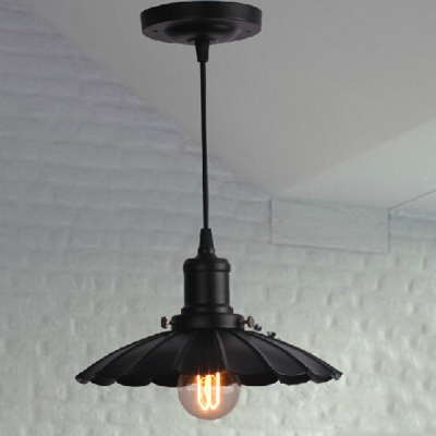 Black 1 Light LED Pendant 9.84'' Wide Down Lighting Pendant with Floral Shade