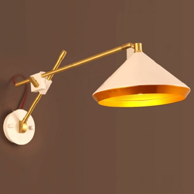 Unique Umbrella Shade Adjustable LED Wall Sconce in Polished Brass Finish