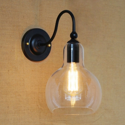 Industrial Single Light Wall Sconce in Clear Glass Ball Shade - Beautifulhalo.com
