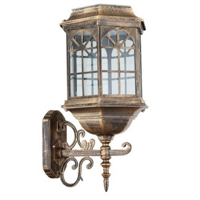14 Inches High Antique Bronze Solar Powered LED Outdoor Wall Lamp