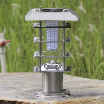 5 Tier Square Shape 12 Inches High Chic Steel Sunforce/Nature Power LED Post Lawn Lights