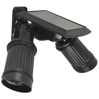 Black Plastic Double Head Solar Power 14-LED Motion Sensor Outdoor Spotlight
