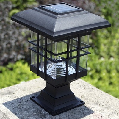 Chic black 8 inches high abs mini solar 3 led garden post light aloadofball Image collections