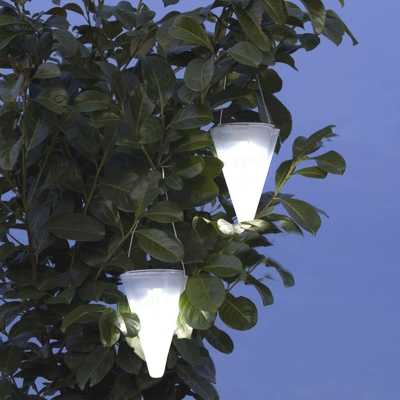 Cone Shape Five Inches Wide Solar Powered LED Garden Tree Decorative Hanging Lamp