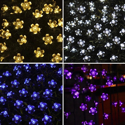 Cool White 50 Pics Peach Blossom Nature Power LED String Light