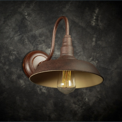 Antique Copper Single Light Led Wall Sconce With Barn