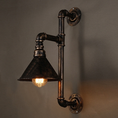 18'' H One Light Pipe LED Wall Sconce with Cone Shade
