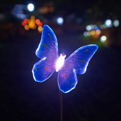 34 Inches High Solar Powered Outdoor Garden Stake Landscape Lighting In  Butterfly Shape ...