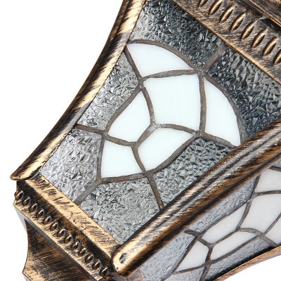 Mottled Bronze 13'' H Waterproof Solar Powered LED Wall Lighting with Tiffany Style Glass Shade