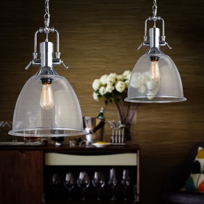 vintage chrome and clear glass pendant light - Clear Glass Pendant Light