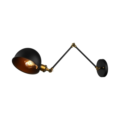 Swing Arm Dome Shade Wall Sconce in Black with Aged Brass Accent for Living Room Bedside Restaurant