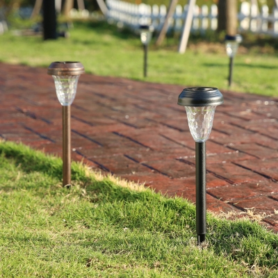 Set of 2 Vintage Black Finish 16 Inches High Plastic Waterproof Solar Powered LED Pathway Lighting
