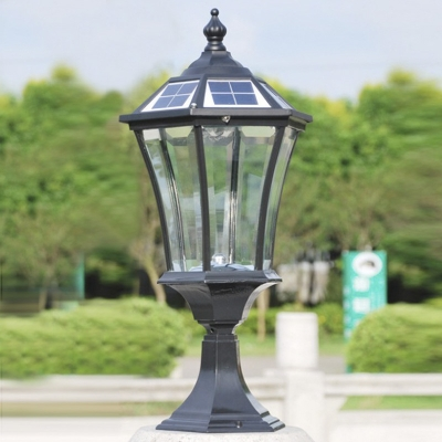 21 H Black Finish Clear Gl Solar Led Outdoor Pillar Light