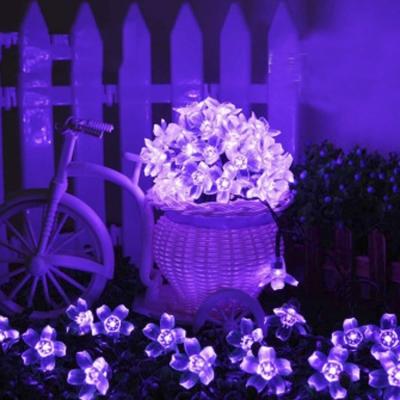 decorative string lighting. 50 pics romantic purple peach blossom led solar decorative string lighting