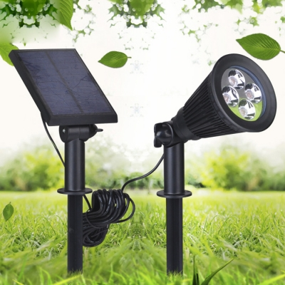 Plastic ABS Wireless 4 LED Waterproof Solar Power Outdoor Spotlight with A Separable Panel