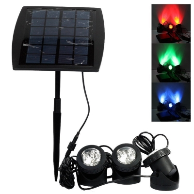 Solar Power 3 Light Color Changing Energy Saving Waterproof Spotlight