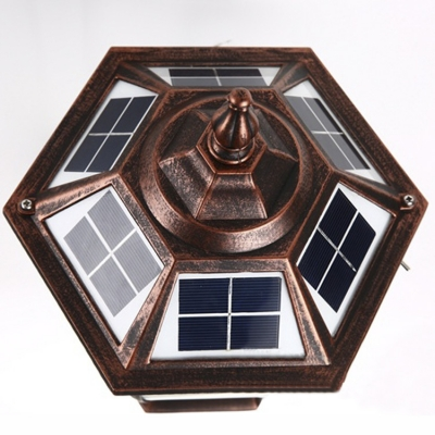 21'' H Vintage Copper Waterproof  Bright 10  LED Solar Outdoor Wall Lamp