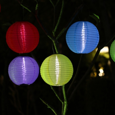 Smart Light Sensor 10 Inches Wide Asian Style Solar Powered Decorative LED Hanging Lantern