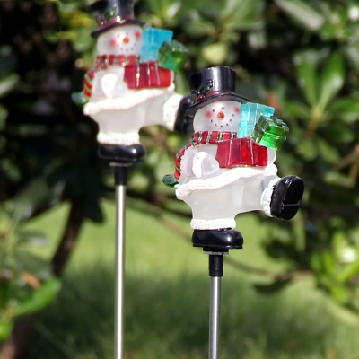 27 H Cute Snowman Garden Stake Color Changing Solar