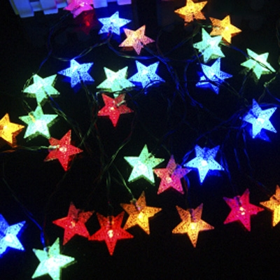 30 pics multi color shining star light sensor solar powered led string lights - Led Multicolor Christmas Lights