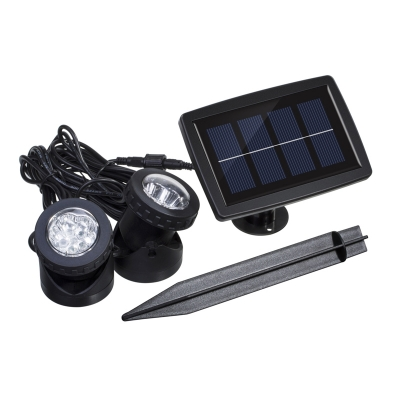 Dual Head 6 LED Cool White Solar Powered Waterproof Garden Patio Spotlight