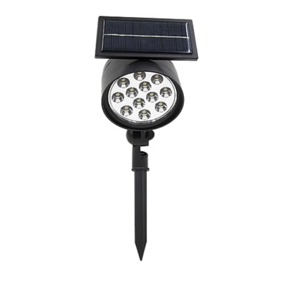 Plastic Single Head 12 LED Black Finish Solar Patio Spotlight
