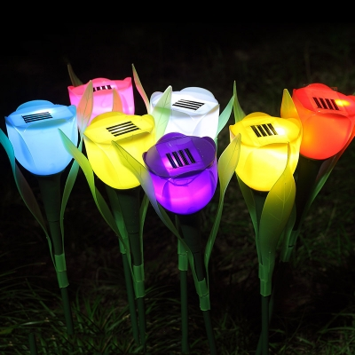 Set of 4 Tulip Solar Powered Garden Stake Landscape Lighting