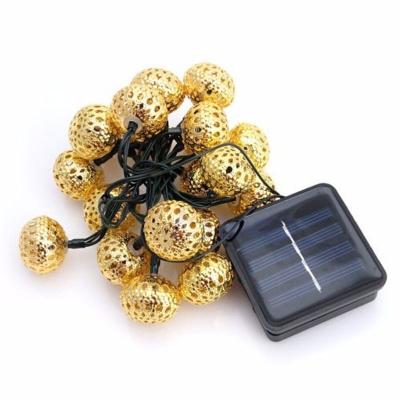 Solar 20 Pics Weatherproof Energy Saving Golden Ball String Lighting Kit