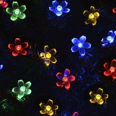 Solar String Yellow Light 50 Pieces Peach Blossom LED String Lighting Kit
