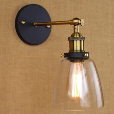 Antique Brass 1 Light Sconce with Clear Glass Shade in Vintage Style for Foyer Pathway Stairs