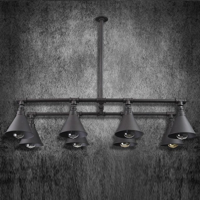 Black Finish 42 Inches Wide Large Pipe LED Island Light with Cone Shade